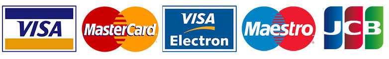 Accepted cards include Visa, Visa Electron, Mastercard, Maestro and JCB